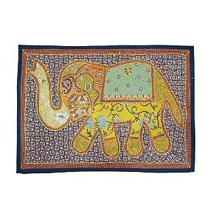 Panô Indiano Bordado Elefante Amarelo e Roxo 100% Algodão