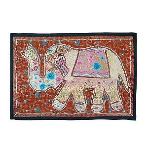 Panô Indiano Bordado Elefante Rosa e Telha 100% Algodão