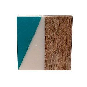 Puxador de Madeira Quadrado Marrom e Verde 4cm