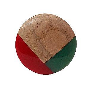 Puxador de Madeira Redondo Vermelho e Verde 4cm