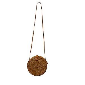 Bolsa de Palha Rattan Redonda com Alça 20cm