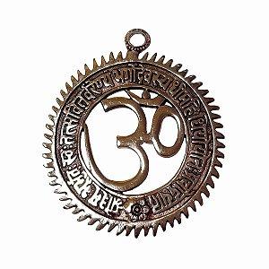 Om Mandala Decorativo de Metal Prata 19,5cm