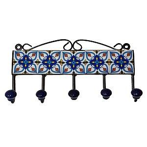 Gancho de Cerâmica Retangular Azul - 5 Ganchos