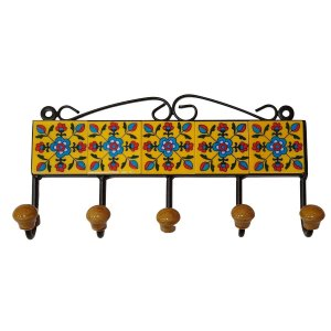 Gancho de Cerâmica Retangular Amarelo - 5 Ganchos