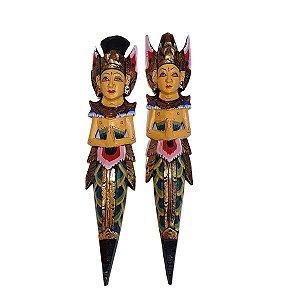 Escultura Rama e Sita de Madeira Balsa Tradicional Verde 50cm