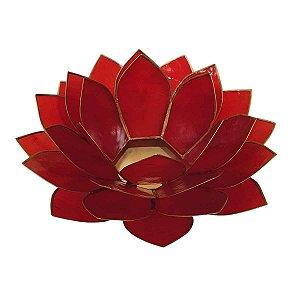 Porta Vela Flor de Lótus de Madrepérola Vermelha G