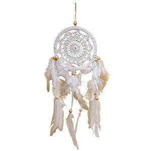 Filtro dos Sonhos de Crochê e Camurça Mandala Branco 12cm