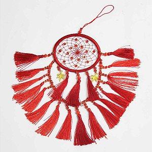Filtro dos Sonhos de Seda e Miçangas Vermelho 8cm