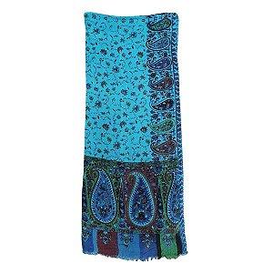 Lenço Indiano 100% Viscose 70cmx180cm (Azul Floral)
