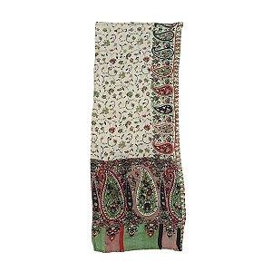 Lenço Indiano 100% Viscose 70cmx180cm (Verde Floral)