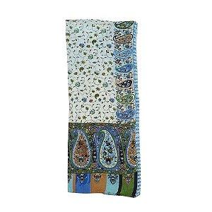 Lenço Indiano 100% Viscose 70cmx180cm (Azul e Marfim Floral)