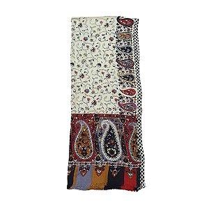 Lenço Indiano 100% Viscose 70cmx180cm (Preto c/ Cores Floral)
