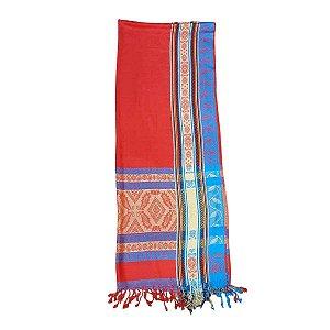 Echarpe Indiana Estampada 100% Viscose 70cmx180cm (Vermelha e Azul)