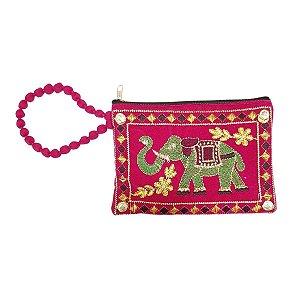 Bolsa de Mão de Tecido com Veludo Bordada Rosa Pequena