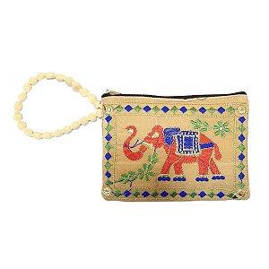 Bolsa de Mão de Tecido com Veludo Bordada Marfim Pequena