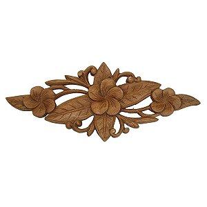 Entalhe de Madeira Suar Flor 30cm