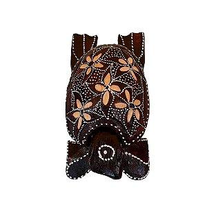 Cinzeiro de Tartaruga Entalhado Madeira (Cores Variadas) 15cm