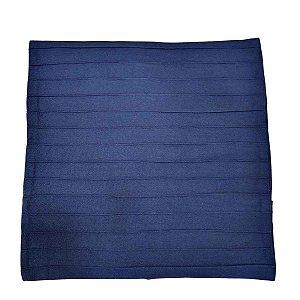 Capa de Almofada de Algodão Lisa Drapeada Azul Caneta 45cmx45cm