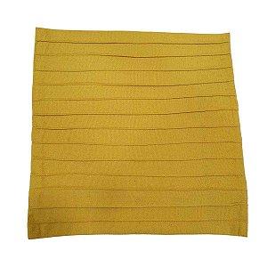 Capa de Almofada de Algodão Lisa Drapeada Amarela 45cmx45cm