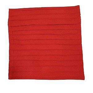 Capa de Almofada de Algodão Lisa Drapeada Vermelha 45cmx45cm