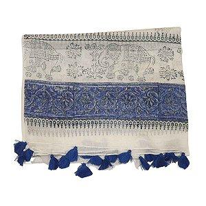 Lenço Indiano 100% Algodão Branco e Azul com Elefante 1mx1,80m