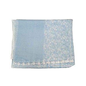 Lenço Indiano 100% Algodão Azul Bebê 1mx1,80m