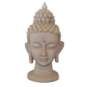 Cabeça de Buda de Pó de Mármore Branca 16cm