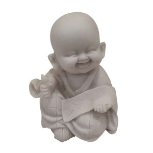 Mini Monge Músico do Chocalho de Pó de Mármore Branco (Mod. 3)
