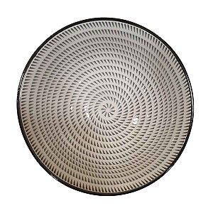 Bowl de Cerâmica Branco e Cinza (Modelo 3) 11cm