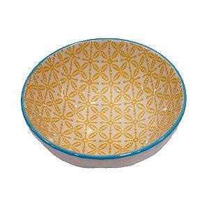 Bowl de Cerâmica Branco e Amarelo (Modelo 5) 11cm