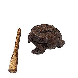Instrumento Sapo Reco-Reco de Madeira Escura Pequeno