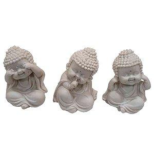 Trio Monges Sábios de Pó de Mármore Branco 12cm