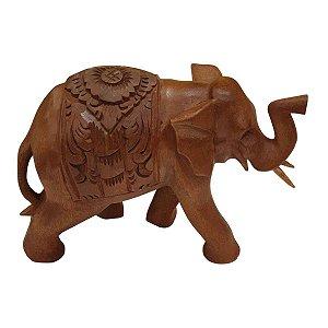 Elefante Esculpido Flor de Lótus de Madeira Suar 20,5cm