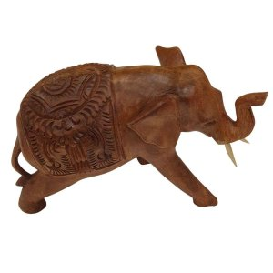 Elefante Esculpido Mandala de Madeira Suar 20,5cm