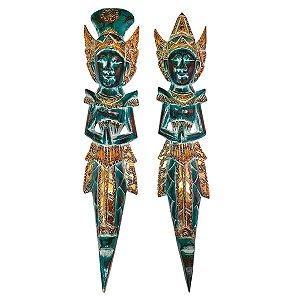 Escultura Rama e Sita de Madeira Balsa Verde 50cm