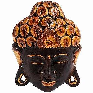 Máscara Cabeça de Buda de Madeira Balsa Marrom com Bege 20cm