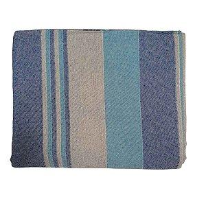 Colcha Indiana Kerala 100% Algodão Cinza e Azul 2,30mx2,10m