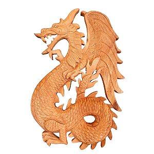 Entalhe de Dragão de Madeira Teca 28cm