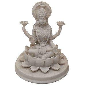 Escutura Lakshmi de Pó de Mármore Branca 11cm