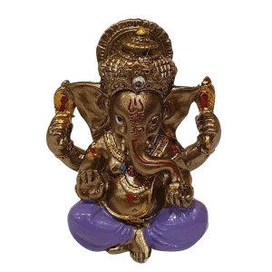 Mini Ganesha de Resina Lilás 5cm