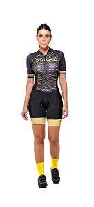 Macaquinho Ciclismo Feminino Colorido - Estampado - Preto e Dourado S216-81