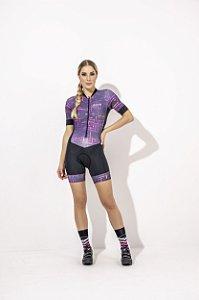 Macaquinho Feminino para Ciclismo Isabelle Strong Life - Estampado Preto e Roxo