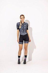 Macaquinho Feminino para Ciclismo Amanda- Strong Life Preto Estampa bikes S229-87