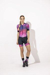 Macaquinho Feminino para Ciclismo Strong Life Gabi  Preto Estampa Rosa S229-88