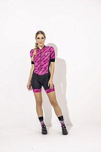 Macaquinho Feminino para Ciclismo Strong Life Camille Preto com Rosa Raios S229-90