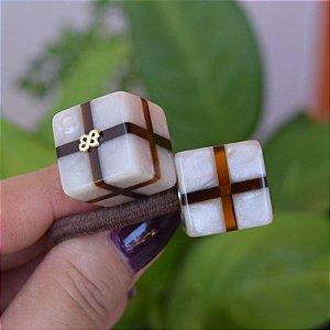 Rabicó Bianca cubo listrado marrom com madrepérola 10 283