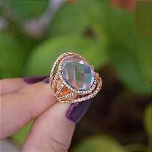 Anel cristal aqua marine zircônia ouro semijoia
