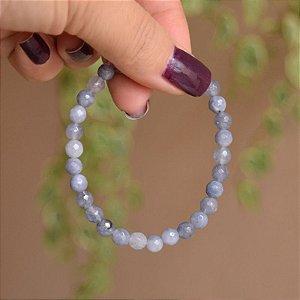 Pulseira masculina pedra natural jade azul