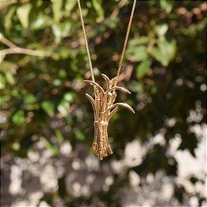 Colar touceira cana ouro semijoia