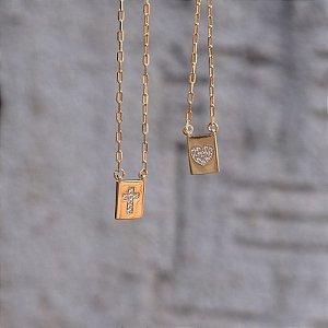 Colar escapulário coração e crucifixo zircônia ouro semijoia